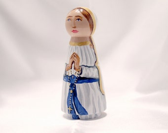 Our Lady of Lourdes - Catholic Saint Wooden Peg Doll Toy - made to order