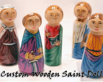 Custom - Catholic Saint Wooden Peg Doll Toy - made to order