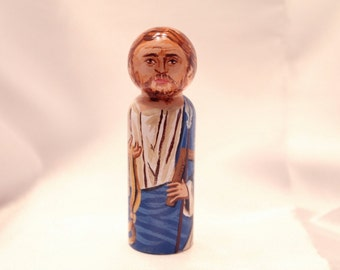 Saint Thomas the Apostle - Catholic Saint Wooden Peg Doll Toy - made to order