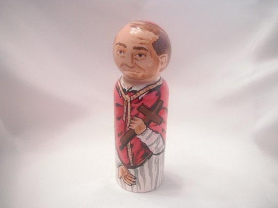 Saint Charles Borromeo - Catholic Saint Wooden Peg Doll Toy - made to order