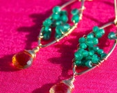 Green Onyx and Citrine Drop Earrings