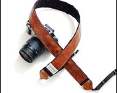 Vintage camera strap  - Leather DSLR Camera Strap - Whiskey Leather