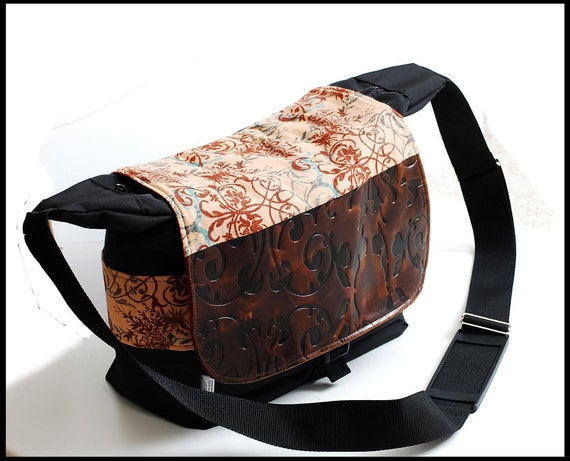 Bag for camera in Large or Travel  bag purse with genuine embossed Leather - Exotic Katarina