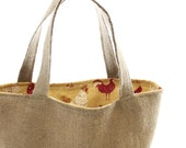 Burlap Farmers Market Tote with Chicken Lining