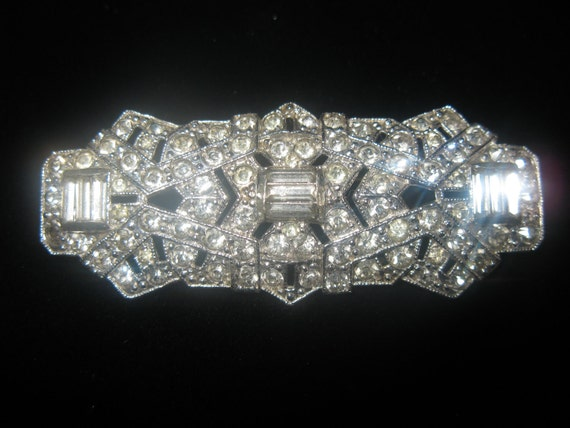 255 OFF SALE Vintage Art Deco Coro Rhinestone Brooch, vintage jewelry, costume jewelry, estate, pin, bridal, wedding, rare
