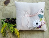 SAMPLE SALE: Ring pillow with ribbon embroidered flowers in pink and blue.