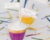 Name & Date wedding cupcake flags - set of 12 - custom colors