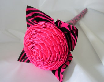 Store closing- Everything half off- Hot Pink Duct Tape Rose- Zebra Style