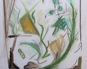 Original abstract pastel on 11 x 14 bristol board by KSteele