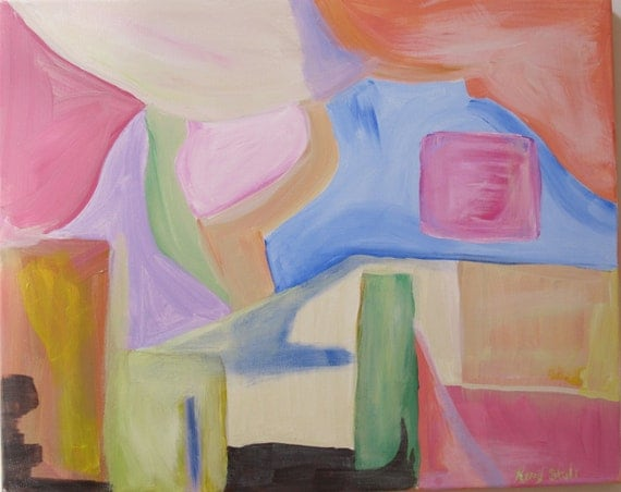 """Original 16x20 abstract """"Dinner alfresco"""" by Kerry Steele"""