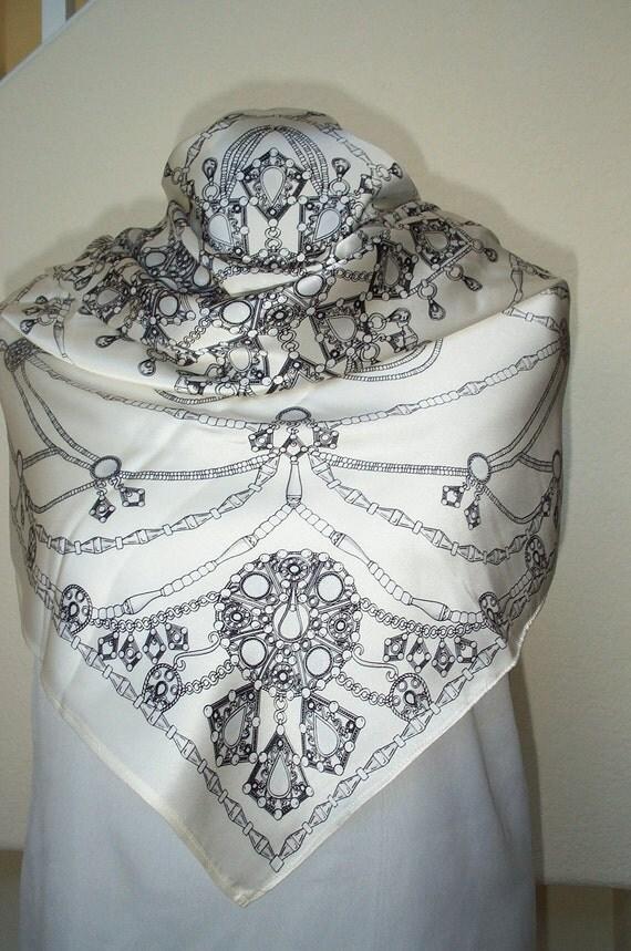 Silk Scarf... Beautiful  Square,  Black  Design  on Ivory White Silk Scarf...Ready to Ship