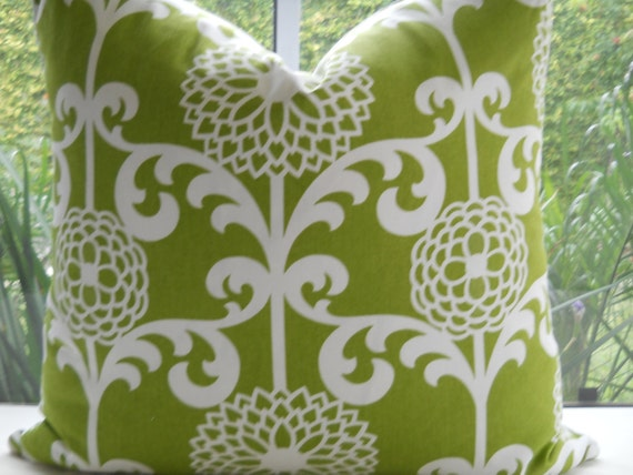 Pillow Cover...New Decorative Designer Fabric...24x24 Green Fun Floret Throw Pillow...Accent Pillow...SALE