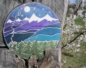 """Handpainted Silk Hoop Windowhanging """"Cabin in the Woods"""""""