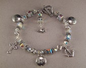 Sterling Silver Bracelet Swarovski Crystal Bracelet Faith Hope Love Bracelet Religious Bracelet Charm Bracelet FREE Polishing Cloth