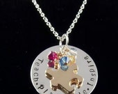 Personalized Hand Stamped Sterling Silver Gold Autism Awareness Support Necklace Free Shipping & Gift Box