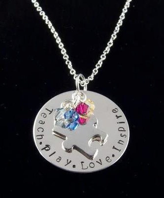 Personalized Hand Stamped Sterling Silver Autism Awareness Support Necklace Free Shipping & Gift Box