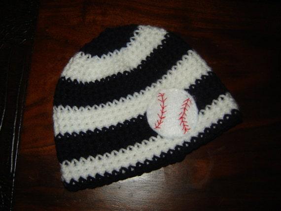 crochet baseball beanie hat felt applique striped or