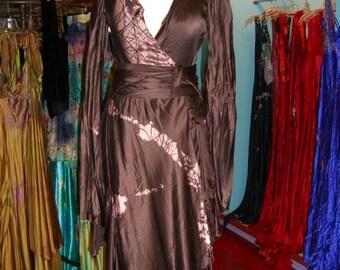 Brown Silk Wrap wedding dress by momosoho