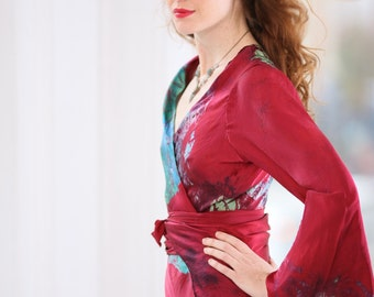 Dark Red  with the blue flash silk boho chic holiday wrap dress boho mother of the bride