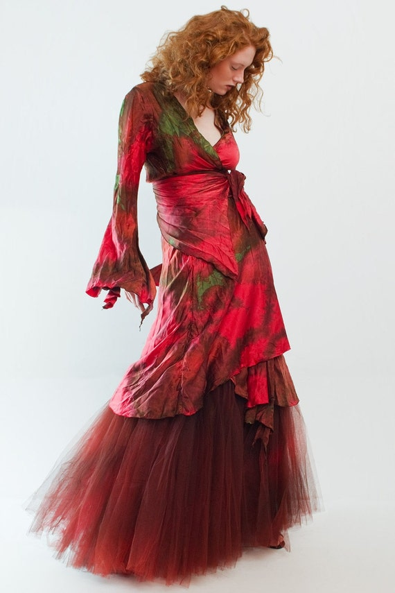 Red silk wrapdress with silk and tuille crinoline momosoho/custom piece