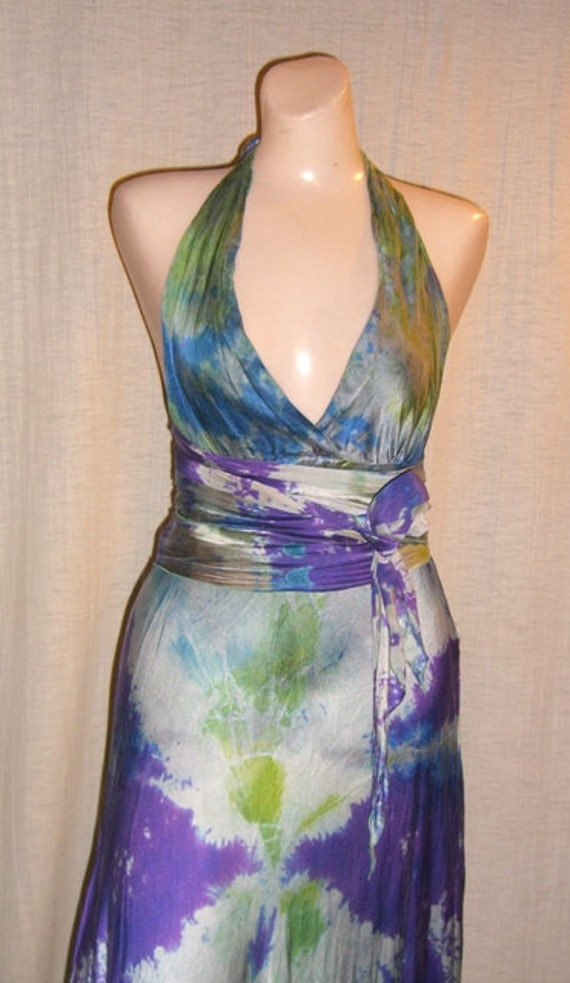 Long Purple and Cream and Green Medium Silk Halter Wedding Dress with a sash by momosoho perfect for your wedding