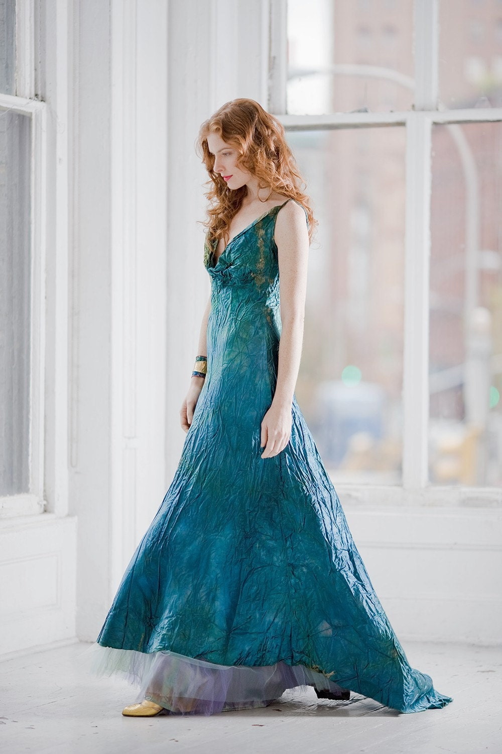 Teal blue wedding dress and crinoline boho beach bridal gown for Teal dress for wedding