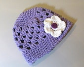 Lavender Beanie Hat with 3 button on detachable flowers (fits babies to adults) (Lily Beanie)