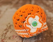 Orange Beanie Hat with 3 button on detachable flowers (fits baby, toddler, child and adult) (Lily Beanie)
