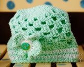 Green Beanie Hat with 3 button on detachable flowers (fits baby, toddler, child and adult) (Lily Beanie)