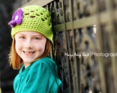 Green Beanie Hat with 3 button on detachable flowers (fits babies, toddlers, children and adults) (Lily Beanie)