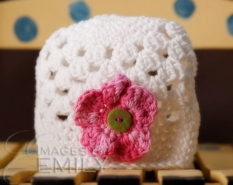 White Beanie Hat with 3 button on detachable flowers of your choice (fits babies, toddlers, children and adults) (Lily Beanie)