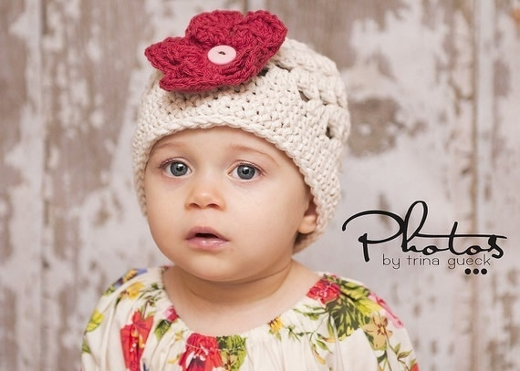 Cream or Off White Beanie Hat with 3 button on detachable flowers (fits babies to adults) (Lily Beanie)