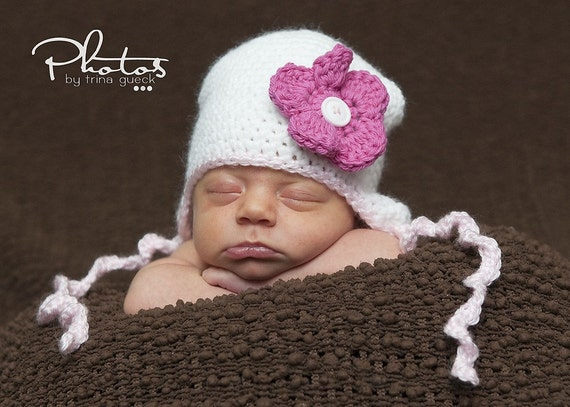 White Earflap Hat with 3 button on detachable flowers of your choice (fits newborn to adult) (Curly Tie Hat)