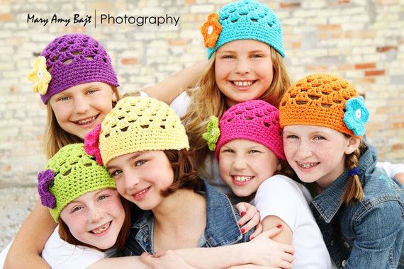 Beanie Hat with 3 button on detachable flowers in your choice of colors (fits babies to adults) (Lily Beanie)