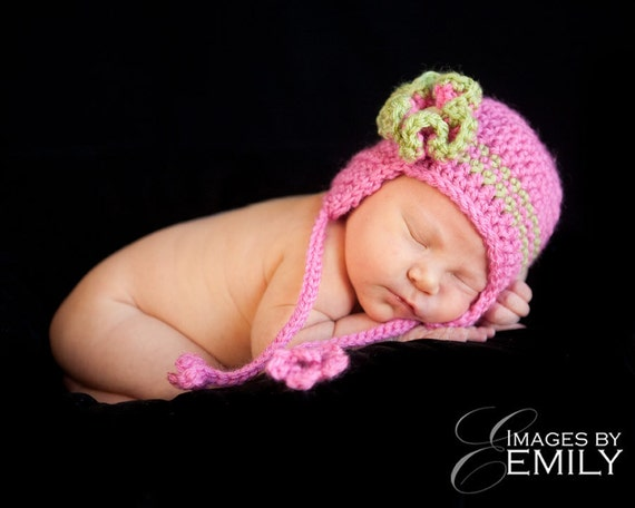 Pink Earflap Hat/Green Earflap Hat with flower (fits babies to adults) (Heather Earflap Hat)