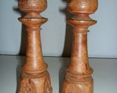 Hand Carved  Wooden Candleholders from India