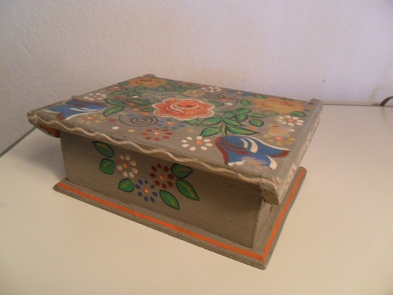 Vintage Tole Painted Wooden Box