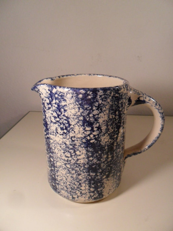 Art Pottery Cobalt Blue Sponge Ware Pitcher