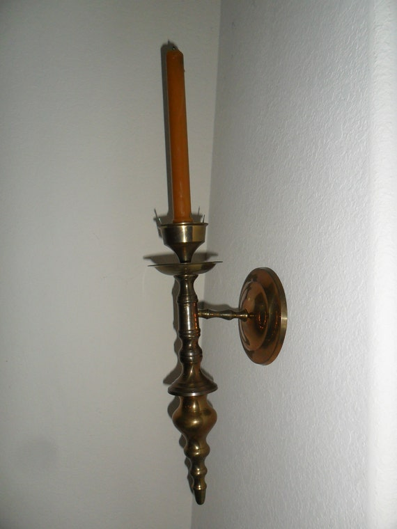 Wall Candle Sconces Etsy : Items similar to Vintage Brass Wall Candle Sconce on Etsy