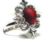 Ruby Red Recycled Vintage Adjustable Ring Gift Present Mom Sister Friend