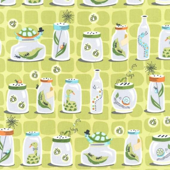 Michael Miller Fabric - Patty Sloniger - Backyard Baby Collection - Bug Jars in Green (PS5346 Green) - Half Yard Cut - Boy Fabrics
