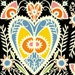 LAST PIECE - Hearts in Multi and Black - Chickadee by Julie Paschkis 6JPC2 - 1 yard