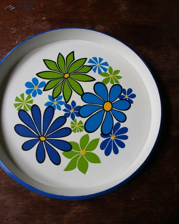 Flowered Serving Tray - Blue and Green 1970s Retro Hippie Decor