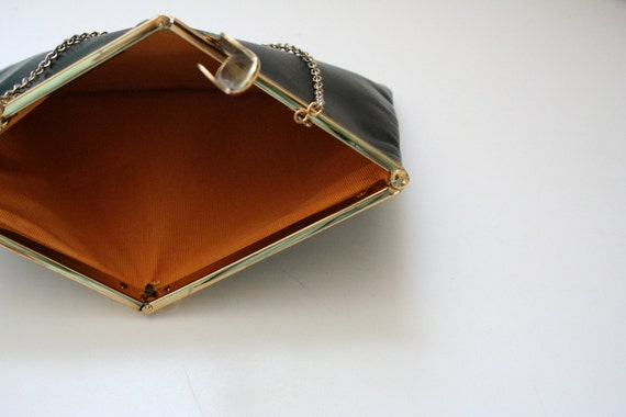 Black Leather Clutch with Gold Chain - Evening Formal