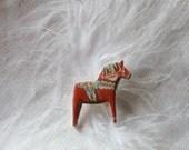 Dala Horse Brooch