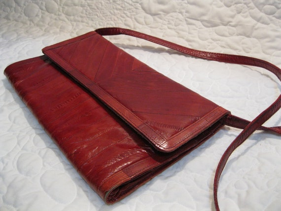Super SALE Vintage Eel SKiN ReD Purse or Clutch the Veronica