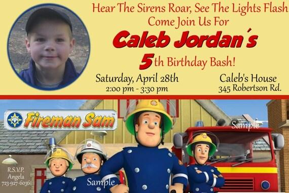 FIREMAN SAM Birthday Invitations - Digital File or Upload