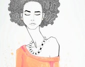 END OF EDITION: art print, girl with coral afro, black, white, pink and orange