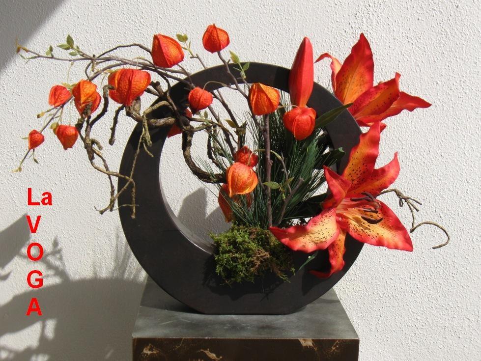 silk floral arrangement lillies lantern ikebana a cc