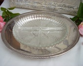 Vintage Divided Two Piece Silver Plated Serving Tray